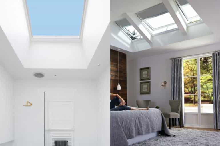 bathroom and bedroom with velux