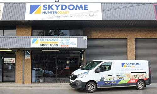 skydome hunter showroom with their service vehicle