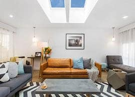 living room with velux ceiling by skydome hunter coast