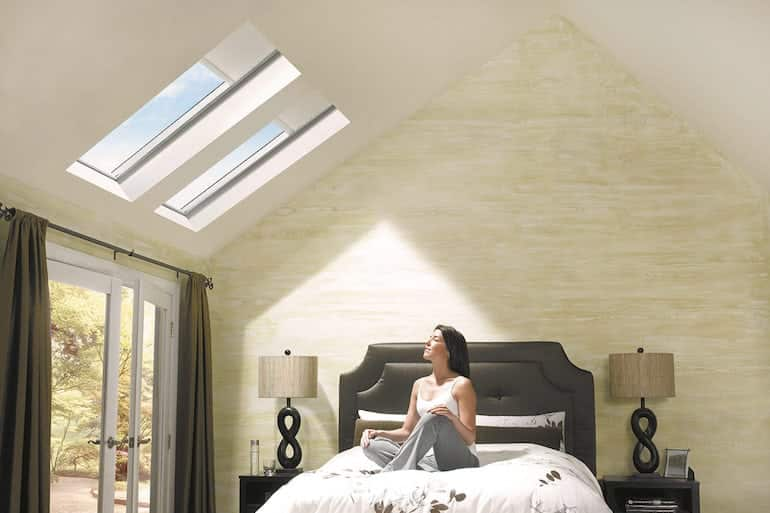 bedroom with velux ceiling from skydome hunter coast